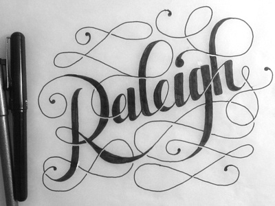 Raleigh, NC hand lettering black and white mrdavenport mistermisses work in progress typography sketch script north carolina raleigh