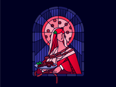 Patron Saint of Pepperoni branding illustration restaurant saint pizza stained glass pepperoni