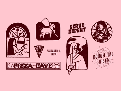 JCPC — Spots branding pizza illustration mrdavenport