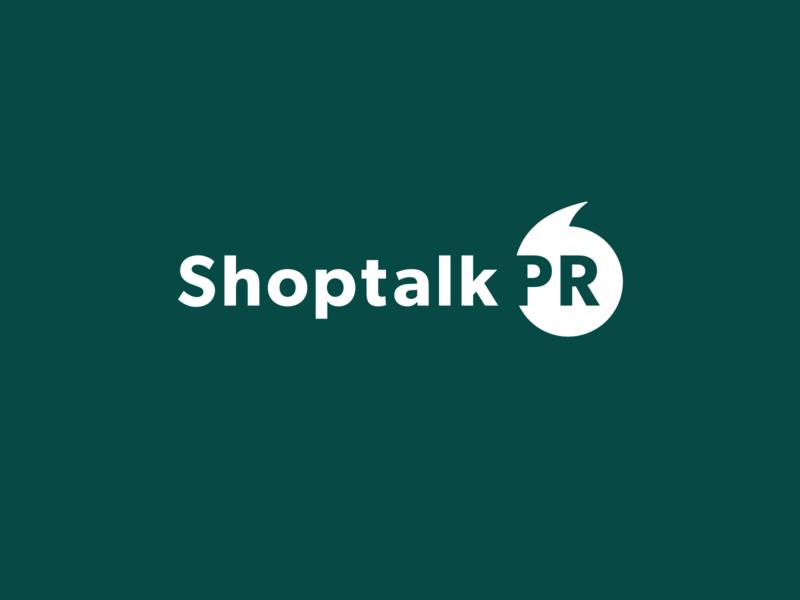 Shoptalk PR Logo message communication design brand logo