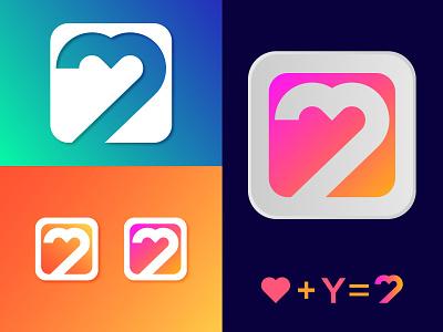 Y + Heart app icon(for sale) ui typography illustration 3d graphic design minimalist icon vector flat branding design logo modern