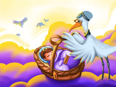 Storyboard artwork illustration artist adobe ui art digital art graphic design colorful cloud sunset crane