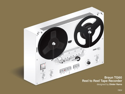 Dieter Rams' Braun TG60 Reel to Reel Tape Recorder reel to reel braun dieter rams dieterrams dieter rams product design industrial design isometric perspective isometric illustration isometric art direction nittygritty design illustration