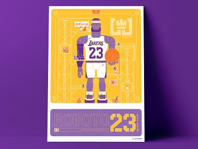 Roboto 23 Lebron James basketball lebron nittygritty illustration