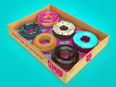 Demon Donuts Sampler demon donuts art direction branding design nittygritty
