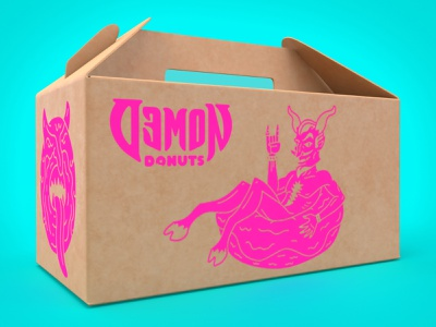 Demon Donuts Carry Box demon donuts packaging branding nittygritty design