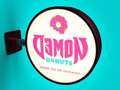 Demon Donuts Sign devil sign donuts demon art direction branding packaging design nittygritty
