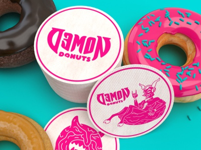 Demon Donuts Coasters coasters devil donuts demon packaging art direction branding illustration design nittygritty