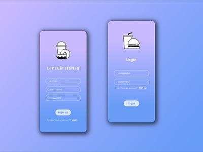 Sign Up / Login food app sign up ui  ux mobile app illustrator mobile login signup illustration minimal app design dailyuichallenge dailyui