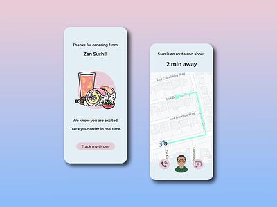 Location Tracker order location app location delivery food cute ui mobile app minimal illustrator illustration design dailyuichallenge 020 dailyui location tracker