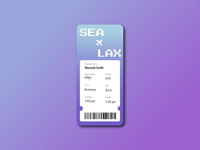 Boarding Pass travel airline pass ticket airport flight plane boarding pass cute mobile ui app minimal illustrator illustration design 024 dailyuichallenge dailyui