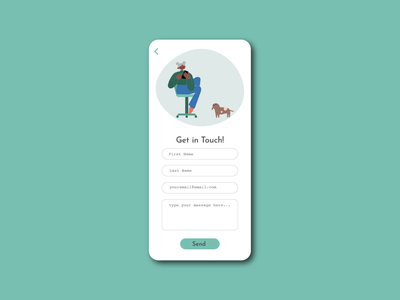 Contact Us ux phone contact page 028 form contact us contact cute mobile ui app minimal illustrator illustration design dailyuichallenge dailyui
