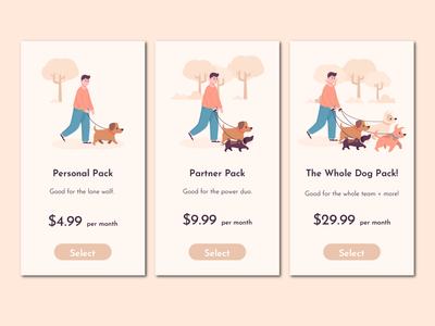 Pricing buy subscription team doggy dog package price tag website ui mobile app minimal illustrator design illustration prices price 030 dailyuichallenge dailyui