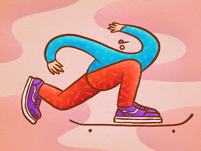 Skater ride shoes pattern procreate texture skater skate character illustration