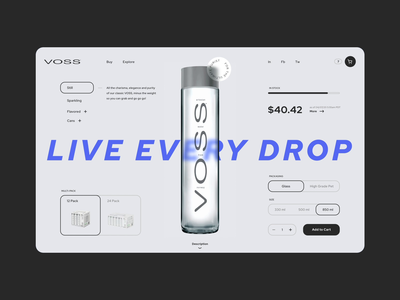 Voss. Product page 012 dailyui item order shop e-commerce bottle water website minimal animation typography web ux ui