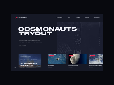 Roscosmos website concept dailyui figma aftereffects logo counter rocket cosmos animation web ux ui