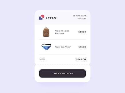 Receipt order price backpack bag receipt figma interaction dailyui mobile animation web app logo ux ui