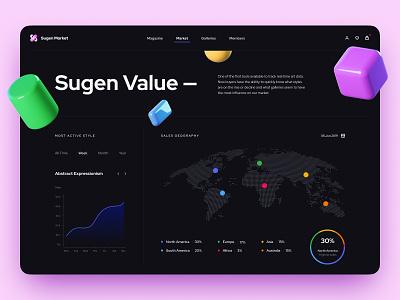 Sugen web app website dark ui aftereffects figma graphic data dashboad chart 3d art minimal interaction app logo animation design icon web ux ui