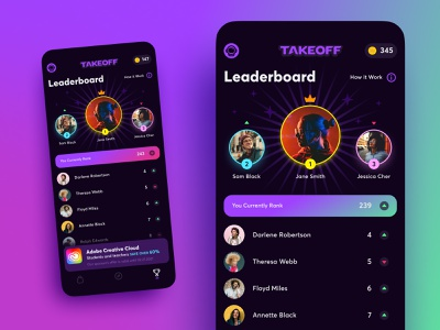 Takeoff App Leaderboard leader coin takeoff ios competition champion rank list leaderboard mobile app ux ui