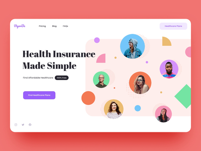 Health Insurance. Landing Page pattern geometry abstract insurance people healthcare landingpage interaction typography animation web ux ui