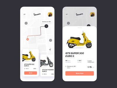 Scooter Booking App inostudio interaction figma location tracker map 020 dailyui scooter vespa mobile app ux ui