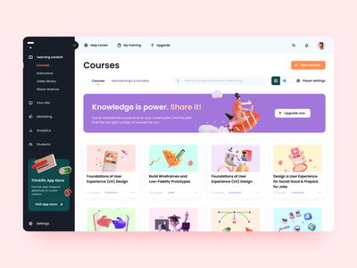 The Thinkific app. Knowledge is power challenge playoff mentor instructor training lesson web app knowledge platform purple learning 3d dashboard pink illustration design app icon web ux