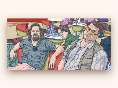 Dude Team ai big lebowski movie art office relax bowling sunglasses picture team illustration dude