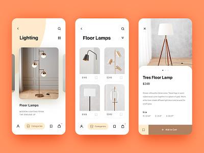 Light Store App animation prototype interaction cart shop lamp light mobile ios app e-commerce store uxpin ux ui