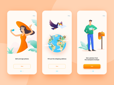 Graphie App. Onboarding tucan delivery post earth photo onboarding character vector mobile ios app ux ui illustration