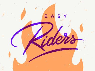 Easy Riders riders overlay texture fire vector team lettering typography branding design logo illustration