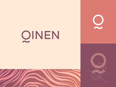 Qinen Backpacks Logo minimal backpack typography grid pattern branding vector design logo