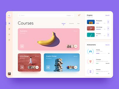 Courses Dashboard adobexd minimal interaction interface webdesign website design webapp logo graphics course dashboard web typography icon app ux ui