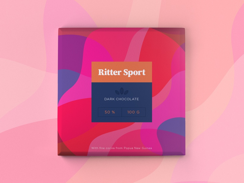 Ritter Sport Concept typography flat pink rittersport warmup dribbble chocolate packaging pattern icon branding vector design