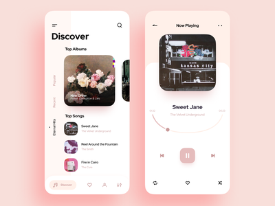 Music Player App play cards music app music player app playlist player song minimal music mobile app ux ui