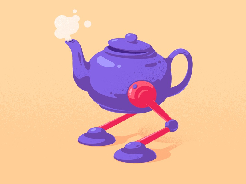 TeaBot characters characterdesign teapot warmup robot tea character design vector illustration