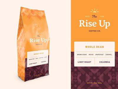 Rise Up Coffee, Dirbbble Weekly Warm-Up graphic design bean sun pattern coffee dribbbleweeklywarmup logo packaging package design badge branding typography