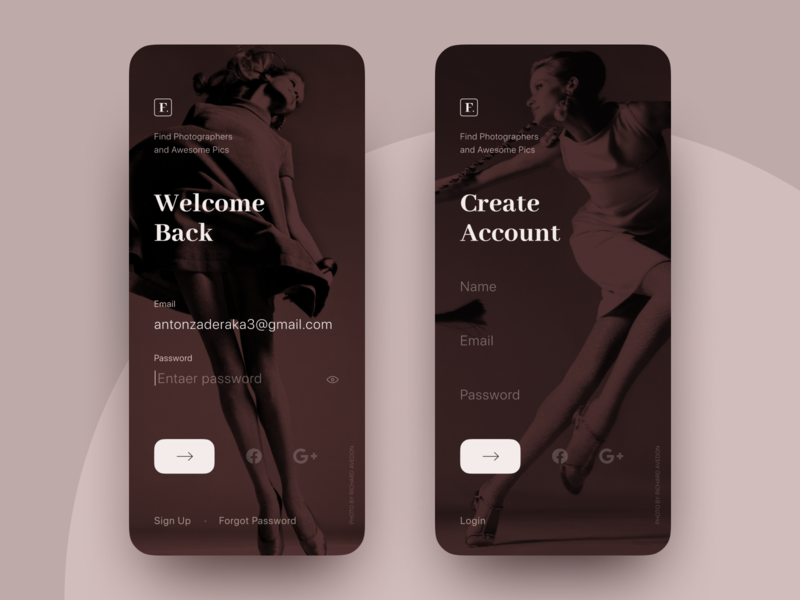 Find Photo App.  Login / Sign up 001 dailyui minimal registration monochrome logo figma photography photo signin login signup app ux ui