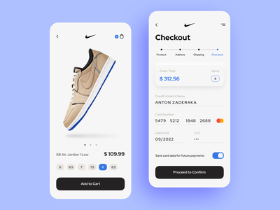 Shoe Store. Checkout minimal ios mobile app icon price order size shoes cart card checkout 002 dailyui ux ui