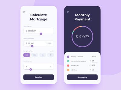 Mortgage Calculator piechart chart mobile design calculator mortgage 004 dailyui app ux ui