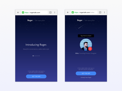 Roger // New Website  new web messenger talkie walkie roger