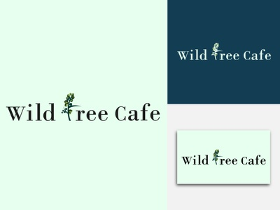"Flat and Modern Logo for "" WILD TREE CAFE "" web typography simple restaurant modern logotype lettering icon graphic drawing brand design branding design illustrator minimal flat vector design illustration graphic design logo"