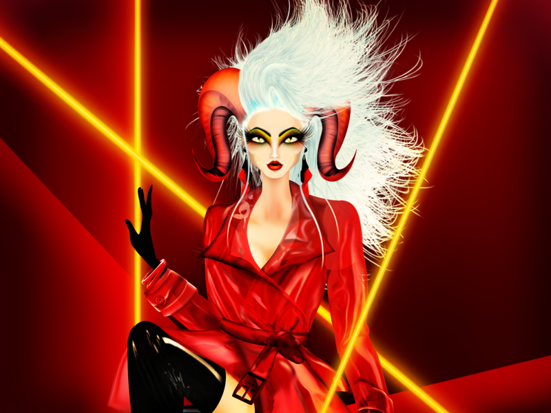 Aries Bioqueen Pride Zodiac neon aries lgbtttq pride outrageous model horoscope haute couture fashion illustration fashion exagerated dragqueen drag bioqueen