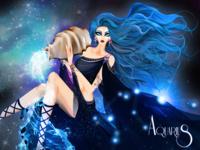 Zodiac Fashion Illustration Aquarius Weekly Warmup Prompt No. 38 cosmos universe sparkles horoscopo blue water stardust goddess stars constellation zodiac sign zodiaco zodiac acuario aquarius model horoscope fashion illustration