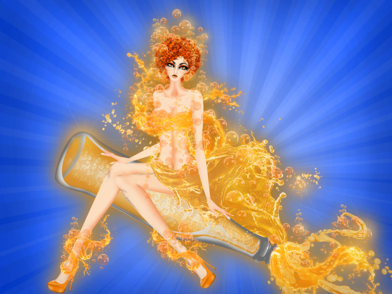 Piscis Soda Pinup Girl horoscope orange sugar sparkling water bottle soda model illustration fashion