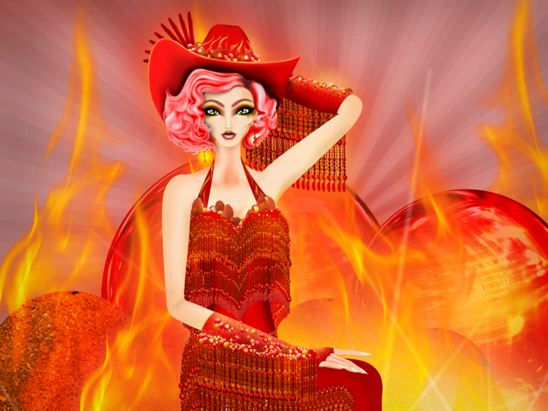 Aries Spicy Candy Cowgirl pinup girl cowgirl hot sweetness sweet candy picante chilly spicy horoscope illustration fashion model