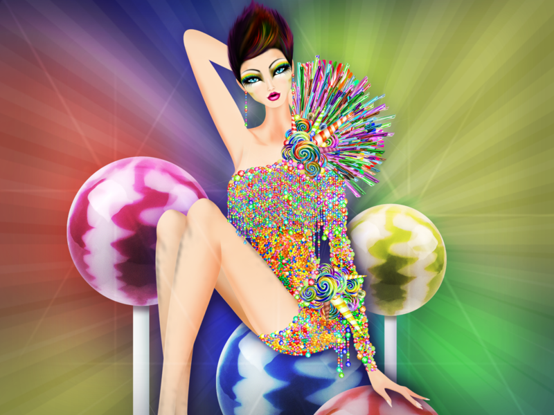 Cancer Candy Pinup girl candycouture sugar paleta dulce lollipop sweet candy model horoscope illustration fashion