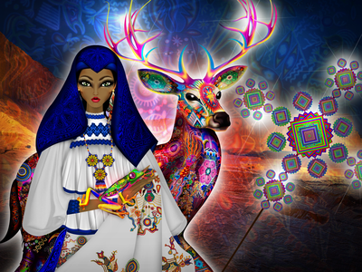 Otomi Indigenous Illustration mexican art mexican tribes religion deer kauyumari art nayarit indigenous otomi peyote mexico model fashion illustration