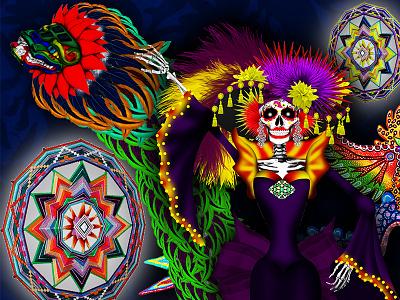 México color alebrije otomi artesania aztec mexica quetzal death.color catrina folklor mexico