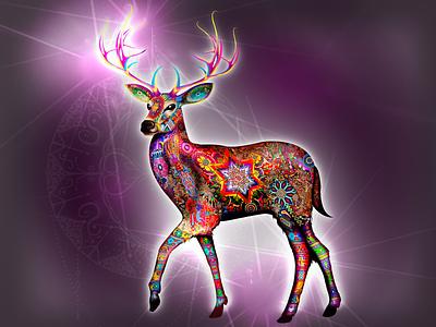 Kauyumari Deer Huichol God Full Body mythology deer illustration peyote ayahuasca nayarit huichol mystic god animal deer design illustration mexico