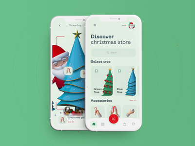 Christmas App 3d illustration clean mockup christmas new year iphone12 redshift c4d cinema4d dashboard statistic ux ui content takasho design ai